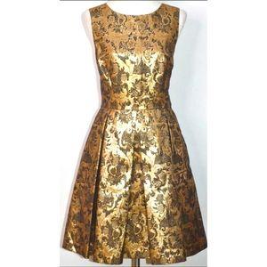 ELIZA J METALLIC GOLD JACQUARD & MESH DRESS AU14